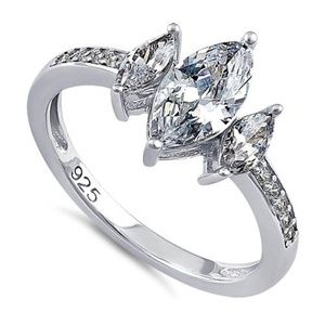 Jewelry - Sterling Silver Triple Marquise Cut Clear CZ Ring